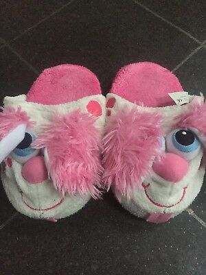Girls Slippers Size 13/1 Stompeez Fluffy Slippers With Ears