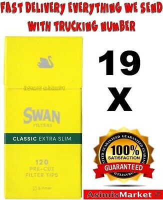 Swan Yellow Extra Slim Cigarette Filter Tips 5.7 mm 16 Packs x 120=1920 Tips