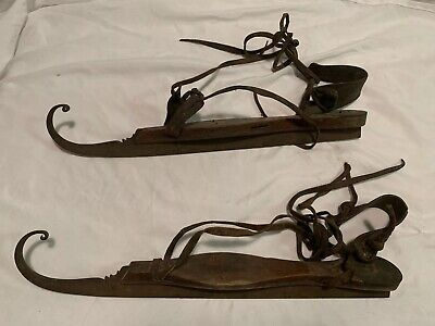 Antique Primitive Ice Skates Curled Tips Wood/Steel & Leather 1800's
