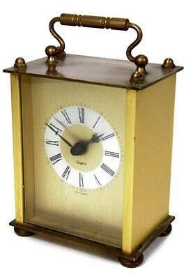 Vintage Antique Style West German Brass Carriage Mantel Clock Swiss Movement