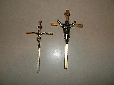 2 Brass Cross Pendants / Necklace Or Wall Mount--W/ Christ On Them