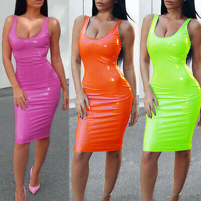 Women's Casual Bodycon Dress PU Leather Sexy Wet Look Party Clubwear Slim Fit