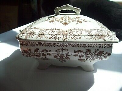 """HTF T & R BOOTE  Brown BURSLEY ENGLAND Footed LIDDED DISH """"LAHORE""""  1880's"""