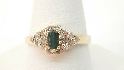 14k Yellow Gold Green Genuine .25 Carat Jade Solitaire Diamond Accents Size 7