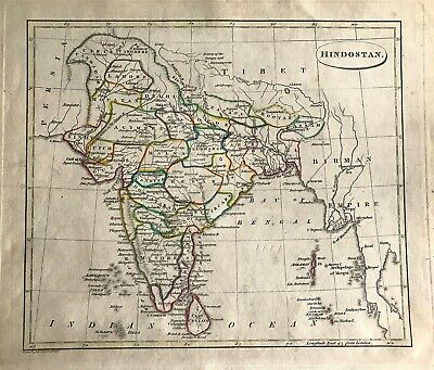 Antique Map of India Hindostan by J C Russell c1800 engraved original