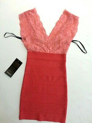 NWT bebe pink coral deep v neck lace bandage sexy top dress XS cocktail 0 2