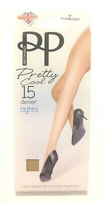 Sunblush Colour Tights 100% Nylon Pretty Polly Medium Size Pretty Cool 15 Denier
