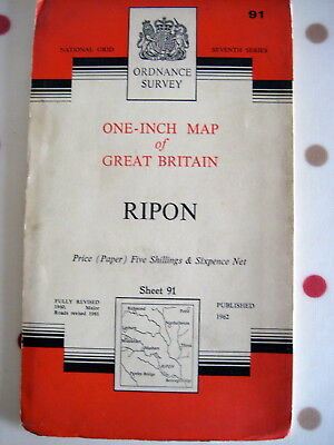 One Inch Map Of Great Britain - Ripon1962 - Sheet 91 - Ordnance Survey Map