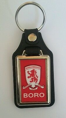 Middlesbrough F.C. quality Leather fob Keyring.  Ideal gift