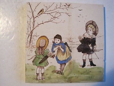 "Antique Victorian T & R Boote ""Rosebud Series"" Tile- Children With Bows & Arrows"