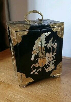 Handmade Chinese Jewellery Box Cabinet Beautifully Detailed Panels Brass Bound
