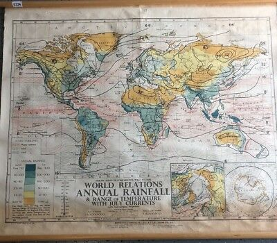 Vintage CLOTH roll up map1 Layer World Rainfall Vintage, Salvage, Old, Antique.