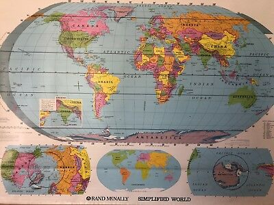 Pull Down School Map of the World. Vintage, Salvage, Old, Antique.