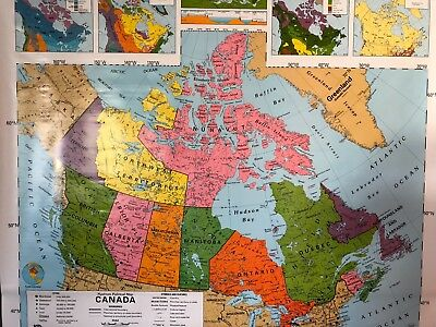 Pull Down School Maps 1 Layer Canada. Vintage, Salvage, Old, Antique.