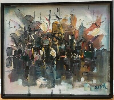 Vintage Mid Century Modern Abstract Expressionist Oil Painting Signed Framed