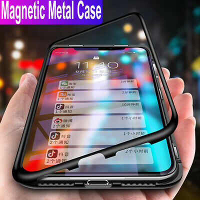 Magnetic Metal Adsorption Tempered Glass Case Cover For Huawei P30 Pro P30 Lite