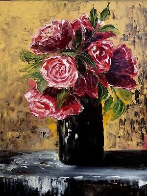 original oil painting Bouquet flowers    Inna Montano palette knife texture