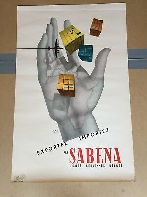 Collection Affiche  Poster Publicitaire Ancienne Travel Sabena 1950
