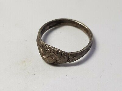 Late Roman or Medieval Silver Marriage Ring- Clasped Hands