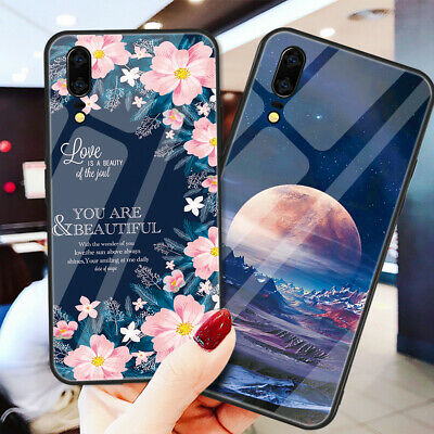 For Huawei P20 Mate 20 Pro Lite Patterned Tempered Glass Bumper Soft Case Cover