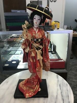 "Antique Japanese Geisha Doll ""fujimusume, Spirit Of Wisteria Flowers"" 16"" Tall"