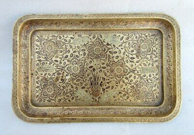 Antique Old Hand Engrave Flower Carving Brass Decor Islamic Mughal Tray Plate