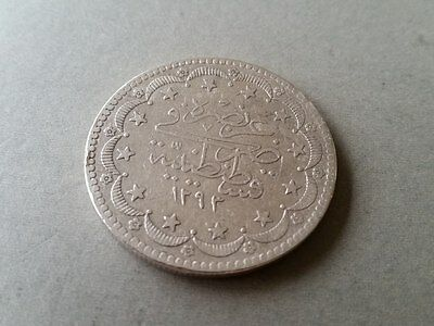 LARGE AUTHENTIC SILVER OTTOMAN COIN 20 Kurush Sultan Abdul Hamid II AH1293 Year2