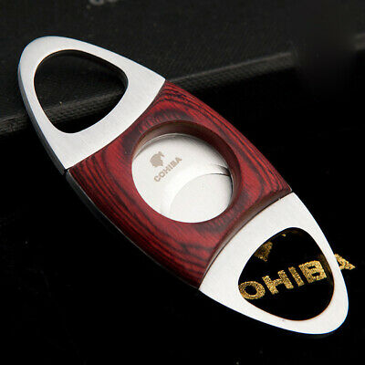 COHIBA Red Wood Stainless Steel Cigar Cutter Two Blade Scissor Pocket Cut+ Pouch