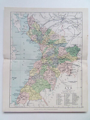 "AYR COUNTY SCOTLAND ANTIQUE BARTHOLOMEWS MAP DATED 1898 7""x9"" FROM PHILIPS ATLAS"
