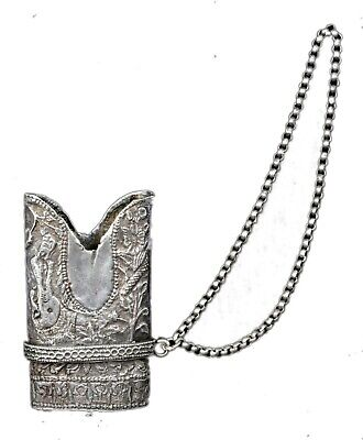 Antique Rare Mughal Islamic Sword Real Silver Scabbard Part Locket. G10-45 US