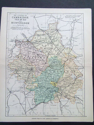 CAMBRIDGE & HUNTINGDON  ANTIQUE BARTHOLOMEWS MAP  DATED 1890  APPROX 7inx 9in