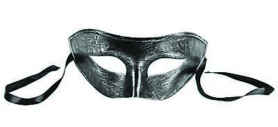 Brushed Antique Silver Venetian Half Eye Mask Harlequin Fancy Costume Accessory