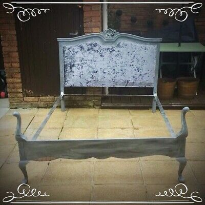 Handpainted Upcycled Vintage Quarter Post Double Bed