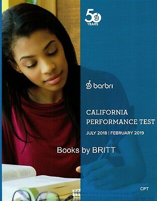 2019 Barbri Bar Exam California Performance Test Workbook CPT =NEW-Free Shipping