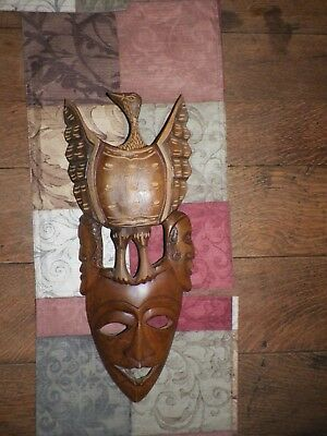 GORGEOUS Antique Hand Carved Wooden Art Wall Hanging Eagle 3 Faces TRIBAL 18""