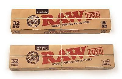 ** 2 Pack** RAW Cone CLASSIC Pre Rolled Cones  1 1/4 size and King Size