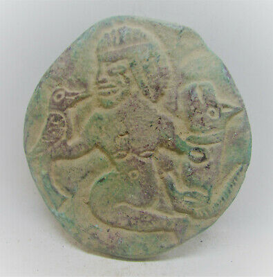 Beautiful Ancient Sasanian Bronze Panel Fragment Very Unusual Scene