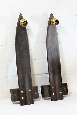 A Pair of Wall Lights Made from Antique Wooden Ski Tips 1920s Skis Pub Sportsbar