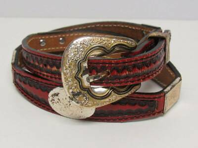 DOUBLE J SADDLERY Tooled Leather Concho Belt 26 or 28 Red Black 928-5  Western