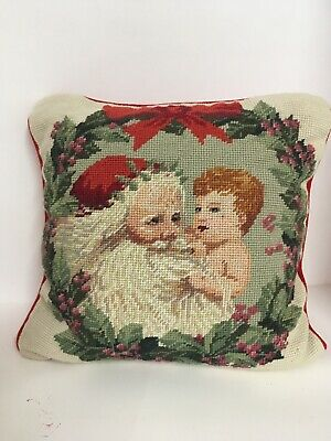 Primitive SANTA CLAUS w Child NEEDLEPOINT FINISHED TAPESTRY PILLOW Sampler Xmas