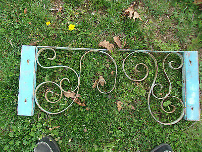 Gorgeous Vintage/Antique Wrought Iron Corbels/Shelf Brackets Old Blue Red Paint