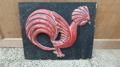 Retro Wall Art 3D Relief Sculpture Picture Red Rooster Mid Century