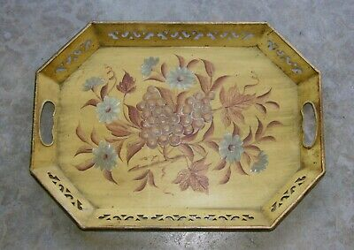 """Antique Vintage Yellow Gold Tole Chinoiserie Hand Painted Floral Tray 17"""" X 13"""""""