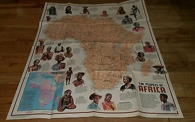 1971 National Geographic Society Ethnolinguistic Map The Peoples Of Africa Rare