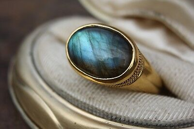 Labradorite Ring | 22k Yellow Gold Ring | Mens Ring Size 9.5| Ca Wildfire Relief