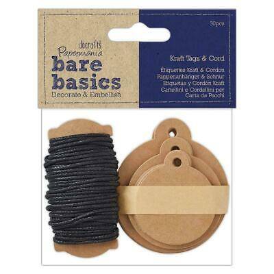 Papermania 30 Kraft Eyelet Round Tags With 6m Black Cord Assorted Size Scrapbook