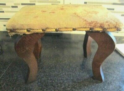 Antique Victorian Wood Foot Bench Stool-Floral Flower Fabric Cushion Top
