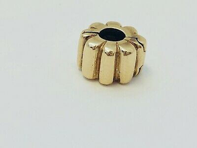 Authentic Pandora 14K Yellow Gold Ribbed Spacer Retired Clip Charm 750118