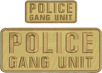 POLICE GANG UNIT EMBROIDERY PATC 4X10 /& 2X5 HOOK ON BACK BLK//TAN