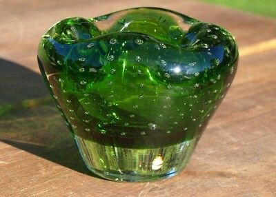 Vintage Murano Green Art Glass Controlled Bubble Bowl